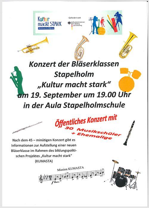 Konzert Bläserklassen Stapelholm 19.9.2018