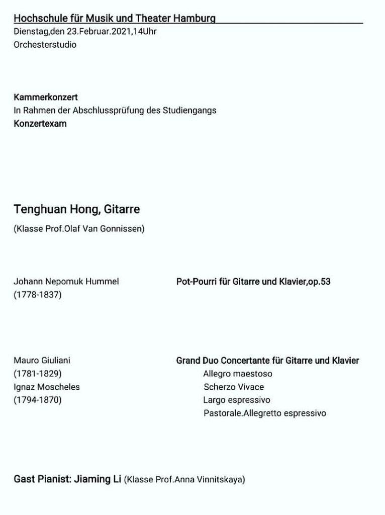 Programm des Examens-Konzerts von Tenghuan Hong (Gitarre)am 23. Februar 2021