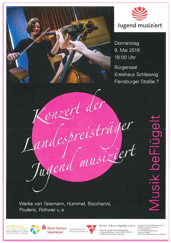 """Konzert der Landes-Preisträger """"Jugend musiziert"""" 9.5.2019"""