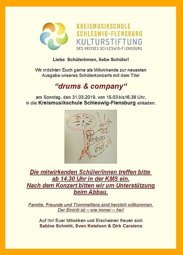 "Schülerkonzert ""drums & company"""