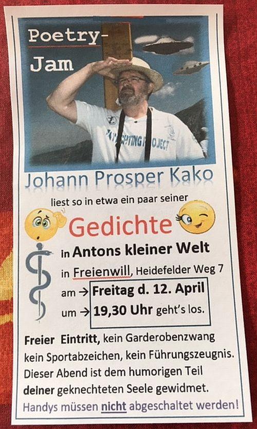 Poetry-Jam: 'Gedichte' von und mit Johann Prosper Kako 12.4.2019