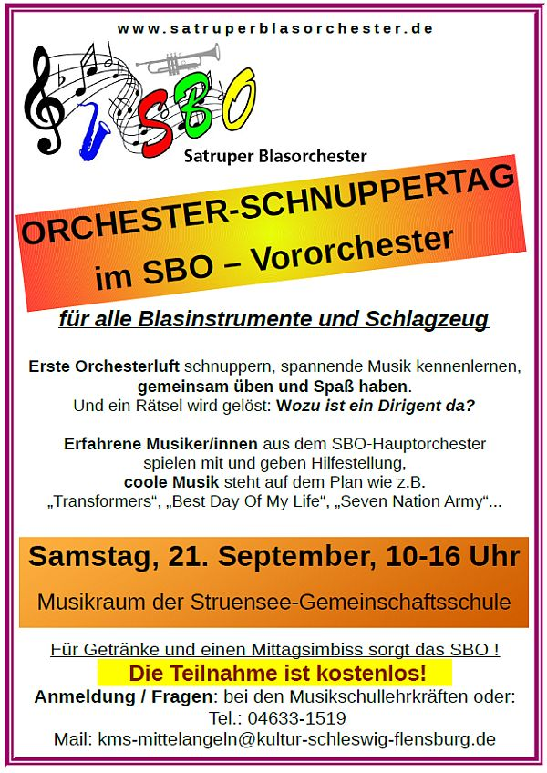 Satruper Blas-Orchester-Schnuppertag 21.9.2019