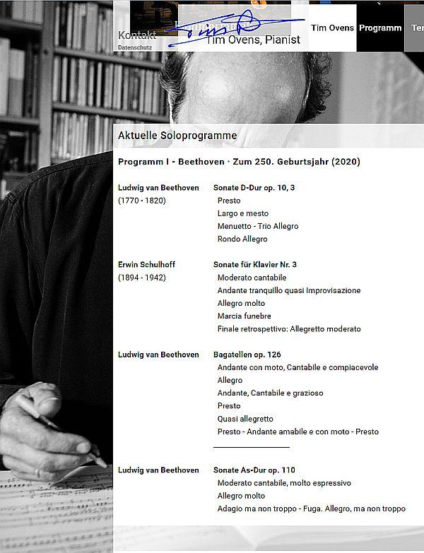 """Tim Ovens´ Programm 'Beethoven zum 250. Geburtsjahr' Konzert in Schleswig am 6.2.2019 in der Konzertreihe """"Musik beflügelt"""""""